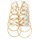 cheap Dog Clothing & Accessories-Women's Hoop Earrings Ladies Rock Oversized Earrings Jewelry Gold / Silver For Evening Party Carnival 12pcs