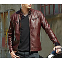 cheap Men's Jackets-Men's Going out Street chic Fall / Winter Regular Leather Jacket, Solid Colored Stand Long Sleeve PU Brown / Black / Red XL / XXL / XXXL