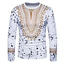 billige T-shirts og undertrøjer til herrer-Rund hals Tynd Herre - Tribal Bomuld, Trykt mønster Boheme / Kineseri T-shirt Hvid L / Langærmet / Forår / Efterår