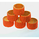 cheap Candles & Candleholders-European Style Glass Round Napkin Ring Table Decorations 6 pcs