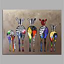 رخيصةأون لوحات-رسمت باليد قماش الحيوان النفط اللوحة الملونة زيبرا الفن الحديث بدون إطار