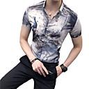 abordables Camisas de Hombre-Hombre Tejido Oriental Discoteca Estampado Camisa, Cuello Inglés Delgado Animal Gris XL / Manga Corta / Verano