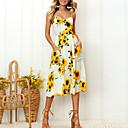 billige Vintage-dronning-kvinders loralf dagligt en line kjole - solsikker tropisk blad hvid, print stroppe sommer pink beige marineblå l xl xxl