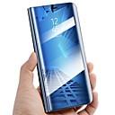 hesapli Fırın Araçları ve Gereçleri-Pouzdro Uyumluluk Samsung Galaxy A8 2018 A8 Plus 2018 Satandlı Ayna Flip Otomatik Uyuma/Uyanma Tam Kaplama Kılıf Tek Renk Sert PU Deri