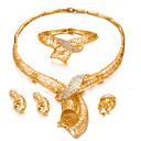 preiswerte Schmuck-Sets-Damen Schmuck-Set - vergoldet Erklärung, Modisch Einschließen Armreife Ohrstecker Halsketten Gold Für Hochzeit Party / Ring / Ohrringe