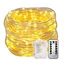 preiswerte LED Lichtstreifen-10m Lichtsets / Leuchtgirlanden 100 LEDs Warmes Weiß / Weiß Wasserfest / Dekorativ Batterien angetrieben 1set