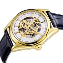 hesapli Erkek Saatleri-ASJ Erkek Elbise Saat mekanik izle Otomatik kendi hareketli Siyah Derin Oyma Analog Lüks Moda - Altın Beyaz