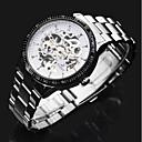 preiswerte Herrenuhren-ASJ Herrn Kleideruhr Mechanische Uhr Automatikaufzug Transparentes Ziffernblatt Cool Edelstahl Band Analog Luxus Silber - Silber