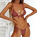 levne Bikinis-Dámské Základní Bez ramínek Světlá růžová Žlutá Fialová Tanga Bikiny Plavky - Jednobarevné M L XL Světlá růžová / Sexy