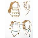 hesapli Küpeler-Kadın's Katmanlı / Kement Gerdanlıklar - Vintage, Çoklu Katman Havalı Altın 42 cm Kolyeler Mücevher 4adet Uyumluluk Hediye, Cadde