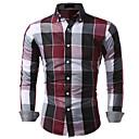 رخيصةأون قمصان رجالي-رجالي قطن قميص, منقوش / شيك ياقة كلاسيكية