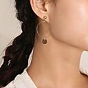 저렴한 귀걸이-여성용 롱 드랍 귀걸이 귀걸이 숙녀 예술적 단순한 단 보석류 골드 / 실버 제품 일상 거리 1 쌍