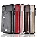 baratos Baterias Externas-Capinha Para Apple iPhone X / iPhone 8 / iPhone XS Carteira / Porta-Cartão Capa traseira Sólido Rígida PU Leather para iPhone XS / iPhone XR / iPhone XS Max