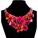 olcso Divat nyaklánc-Női Kristály Nyilatkozat nyakláncok Redőzött Rózsák Virág Nyilatkozat hölgyek Európai Fesztivál / ünnepek Szintetikus drágakövek Gyanta Műanyag Zöld Kék Rózsaszín Nyakláncok Ékszerek Kompatibilitás