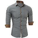رخيصةأون قمصان رجالي-رجالي عمل الأعمال التجارية قطن قميص, لون سادة نحيل / كم طويل