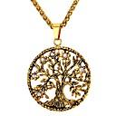 hesapli Yüzükler-Erkek Uçlu Kolyeler - Paslanmaz Çelik Hayat Ağacı Moda Altın, Gümüş 55 cm Kolyeler Mücevher 1pc Uyumluluk Hediye, Günlük