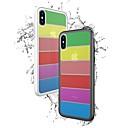 رخيصةأون أغطية أيفون-غطاء من أجل Apple iPhone X / iPhone 8 Plus / iPhone 8 ضد الصدمات غطاء خلفي لون سادة قاسي زجاج مقوى