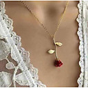 cheap Necklaces-Women's Classic Stylish Pendant Necklace - Roses Dangling Style, Romantic, Fashion Cute, Lovely Silver, Red, Rose Gold 51 cm Necklace Jewelry 1pc For Going out, Valentine