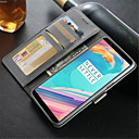 baratos Outras Capinhas-Capinha Para OnePlus 5 / OnePlus 5T Carteira / Porta-Cartão / Antichoque Capa Proteção Completa Sólido Rígida PU Leather para One Plus 5 / OnePlus 5T