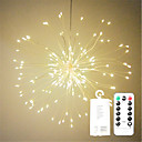 cheap LED Novelty Lights-1pc 100LEDs LED Firework String Lights 20CM Remote Control Starburst Lights Foldable Bouquet Shape Light String Led String Christmas
