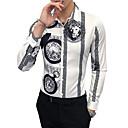 baratos Camisas Masculinas-Homens Camisa Social - Trabalho Vintage Animal / Tribal Colarinho Clássico Delgado Branco XXL / Manga Longa / Outono / Inverno