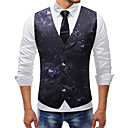 رخيصةأون جواكيت رجالي-رجالي أزرق البحرية XXXL XXXXL 5XL Vest لون سادة V رقبة / بدون كم