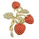 저렴한 브로치-여성용 모조 큐빅 열대의 브로치 - Leaf Shape, 딸기 숙녀, 세련, 베이직 브로치 보석류 레드 제품 선물 / 일상