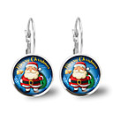 preiswerte Ohrringe-Damen Kristall Schick Klips Ohrring - Santa Anzüge, Buchstabe Zeichentrick, Modisch, nette Art Silber Für Weihnachten Party / Abend