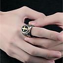 رخيصةأون خواتم-رجالي خاتم خاتم الخاتم 1PC فضي الصلب التيتانيوم بيضوي بانغك مناسب للبس اليومي مجوهرات 3D صليب سيركل كروس