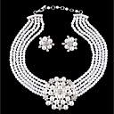 baratos Relógios Femininos-Mulheres Camadas Conjunto de jóias - Imitação de Pérola Flor Estiloso, Original Incluir Brincos Compridos Colar Branco Para Diário