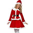 voordelige Hondenkleding & -accessoires-Cosplay Kostuums Santa Clothe Volwassenen Dames Kerstmis Kerstmis Nieuwjaar Festival / Feestdagen Polyster Rood Carnaval Kostuums Vakantie