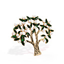 cheap Brooches-Women's Hollow Out Brooches - Pearl, Gold Tree of Life Ladies, Trendy Brooch Jewelry Dark Green For Street