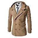 Χαμηλού Κόστους Men's Winter Coats-Ανδρικά Καθημερινά Βασικό Κανονικό Καμπαρντίνα, Μονόχρωμο Με Κουκούλα Μακρυμάνικο Πολυεστέρας Κάμελ / Βαθυγάλαζο / Χακί L / XL / XXL / Λεπτό
