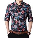 رخيصةأون جواكيت رجالي-رجالي نادي أناقة الشارع قياس كبير قميص, هندسي ياقة كلاسيكية / كم طويل