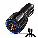cheap Car Chargers-Car Charger USB Charger EU Plug with Cable / Multi-Output / QC 3.0 2 USB Ports 3.1 A DC 5V for