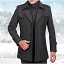 cheap Men's Jackets-Men's Daily Basic Regular Coat, Solid Colored Shirt Collar Long Sleeve Polyester Brown / Black / Gray XXL / XXXL / XXXXL