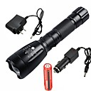 cheap Flashlights-UltraFire LED Flashlights / Torch LED LED 1 Emitters 2200/1000 lm 5 Mode with Battery and Chargers Waterproof Adjustable Focus Rechargeable Camping / Hiking / Caving Everyday Use Working Black
