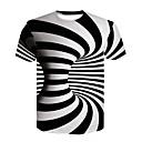 billige T-shirts og undertrøjer til herrer-Rund hals Herre - 3D Trykt mønster Basale / Gade Natklub T-shirt Sort og hvid Hvid US34 / Kortærmet / Sommer