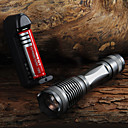 저렴한 손전등-UltraFire E6 LED손전등 2000 lm LED LED 1 이미 터 5 조명 모드 배터리, 충전기 포함 줌이 가능한 조절가능한 초점 캠핑 / 등산 / 동굴탐험 일상용 사이클링 블랙 / 알루미늄 합금