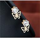 levne Náušnice-Dámské Peckové náušnice - Pozlacené Umělé diamanty Motýl Jednoduchý Šperky Zlatá Pro Svatební Narozeniny Rande Street 1 Pair