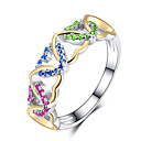cheap Rings-Women's Cubic Zirconia Hollow Out Band Ring Copper Heart Aquarius Wave Stylish European Romantic Ring Jewelry Red / Green / Blue For Wedding Gift Date 6 / 7 / 8 / 9 / 10