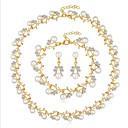 رخيصةأون أقراط-نسائي أبيض لؤلؤ المياه العذبه اطقم ذهب و مجوهرات موضة زفافي مطلية بالذهب الأقراط مجوهرات ذهبي / أبيض من أجل زفاف مناسب للحفلات 1SET