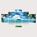 ieftine Imprimeu-Imprimeu Imprimate în rulouri de pânză Imprimeuri pânză întinse - Natură & Outdoor Fotografic Contemporan Modern Cinci Panouri Tablouri de artă