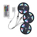 billige Bil Tågelygter-ZDM® 3x5M Fleksible LED-lysstriber / RGB-Lysstriber 900 lysdioder 2835 SMD 1 44Køler fjernbetjening / 1 til 2 kabelstik RGB Chippable / Fest / Dekorativ 12 V 1set