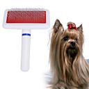 رخيصةأون مستلزمات وأغراض العناية بالكلاب-كلاب حيوانات أليفة فرش الاستمالة التنظيف بلاستيك أمشاط تدليك قابل للغسيل أبيض 1