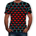 economico T-shirt e canotte da uomo-T-shirt Per uomo Moda città / Esagerato Con stampe, Fantasia geometrica / 3D Rotonda Viola XXXXL