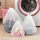 cheap Bathroom Gadgets-Clothing Mesh Bags Zippered Fine Lines Drawstring Laundry Bag Bra Underwear Protective Laundry Bags For Washing Machines