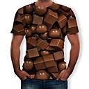 economico T-shirt e canotte da uomo-T-shirt Per uomo Con stampe, 3D Rotonda Marrone XL
