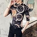 abordables Camisas de Hombre-Hombre Talla EU / US Estampado Camisa Geométrico Negro XL / Manga Larga