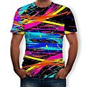 billige T-skjorter og singleter til herrer-Rund hals T-skjorte Herre - Regnbue, Trykt mønster Svart XL / Kortermet